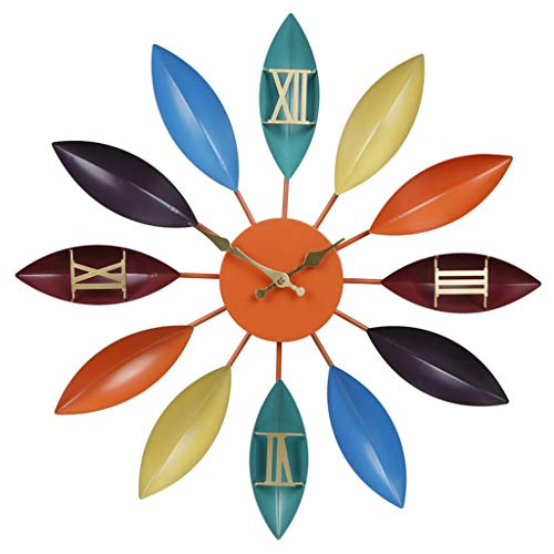 XGJJ Reloj de Pared Sala de Estar nórdico Mediterráneo Creativo Moda Arte Niños Mute Dormitorio Reloj Home Wall Watch Reloj de Pared Grande(24 Inch, A)
