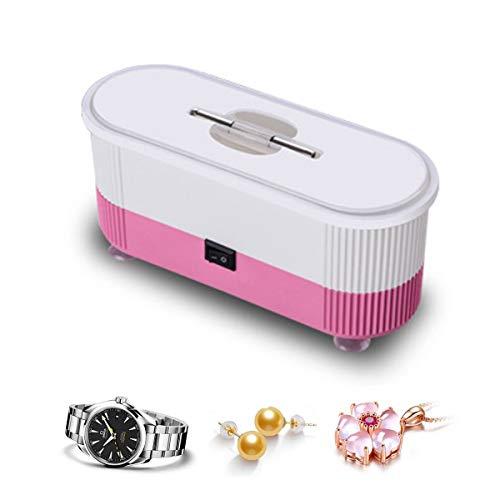 LFMHKM Ultraschall-Reinigungsgerät Haushalt Kleiner Mini Multifunktionale tragbarer Schmuck Brille Reinigungsmaschine für Münzen Keys Ringe Halskette,Rosa