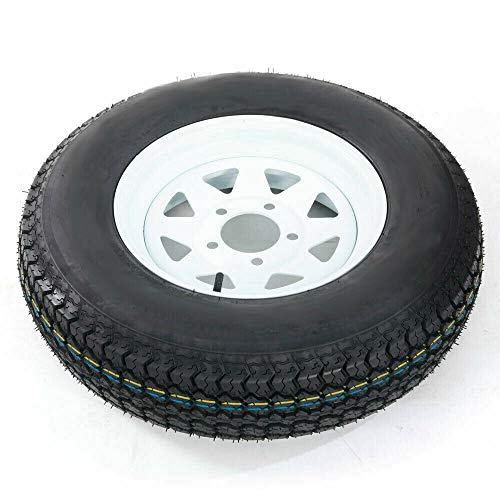 1 Pcs Trailer Tire + Rim 13' White Spoke Trailer Wheel With Bias ST175/80D13 Tire Mounted (5x4.5) Bolt Circle