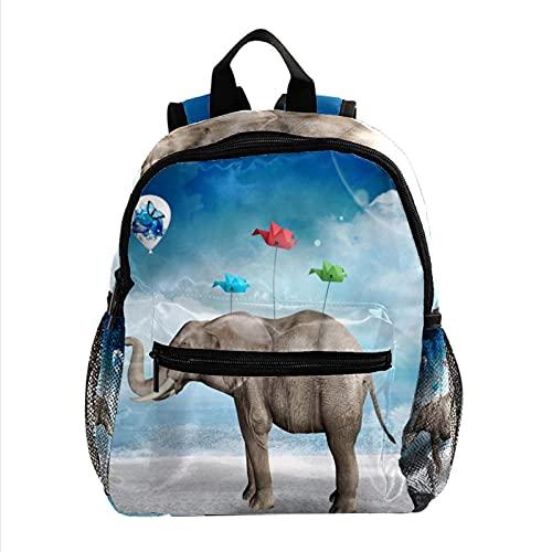 Mini mochila para computadora portátil para mujer, bolsa de viaje Pájaro de origami de globo de elefante para el trabajo, escuela, al aire libre