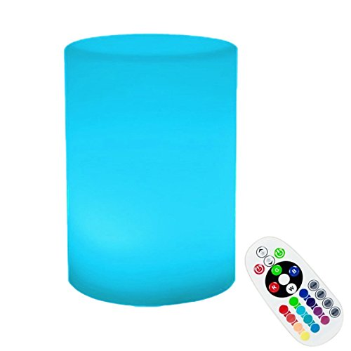 KINGCOO Lumière Cylindrique Flotteur Piscine, étanche Lampe de Nuit à Chevet LED Boule Mood Light Éclairage Décoratif avec 16 Couleurs RVB et télécommande (16x12cm)
