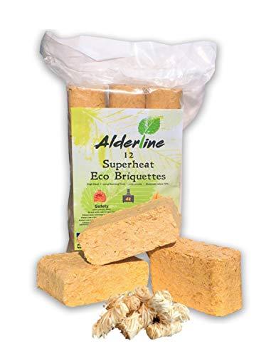 Briquetas de madera Alderline RUF – 12 troncos de fuego incluyendo 24 encendedores naturales para quemadores de leña, hornos de pizza, fogones y más. (24)