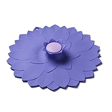 ZEAL Air Tight Push to Seal Silicone 9 inch Kitchen Lid - ECO Friendly - For use with pots, dishes, pans, Tupperware, leftovers, microwaves, stovetops - Purple Flower Design