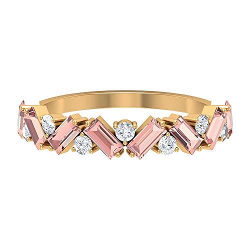 Rosec Jewels 10 quilates oro amarillo baguette round-brilliant-shape H-I Diamond Laboratorio de morganita creado