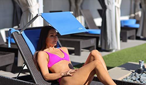 Sun Shade for Sun Lounger | Portable Folding Sunshade for Garden Chair | Face Shader with Inflatable Cushion - SHADESY (wider Cush n shade)