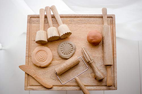 KOOKAROO Dough amp Modeling Clay Tools Set: 7 Wooden Tools  1 Wooden Board for Toddlers amp Preschool Kids 100% Solid Hardwood Promotes Cognitive Growth Motor Skills amp More Dough Not Included