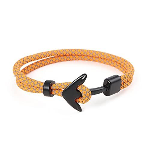 Nueva cadena de cuerda de supervivencia a la moda, pulseras con dijes de ancla multicapa, brazaletes para hombres y mujeres, ganchos deportivos de regalo, estilo azul marino