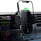 ZeeHoo Wireless Car Charger, 15W Qi Fast Charging Auto-Clamping Car Mount, Air Vent Phone Holder Built-in Atmosphere Led Lights, Compatible with iPhone 13/12/Mini/11 Pro Max, Samsung S21, S20 (Black)
