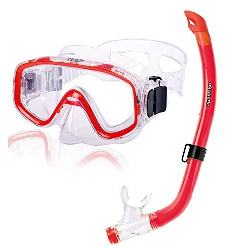 AQUAZON Fun Schnorchelset, Tauchset, Schwimmset, mit Schnorchelbrille und Schnorchel für Kinder von 3-7 Jahren, Farbe:rot transparent