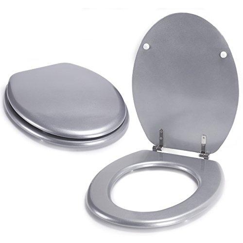 """MSV WC Sitz Toilettendeckel MDF Holzkern """"Silber"""" Scharniere aus Edelstahl - hochwertige und stabile Qualität"""