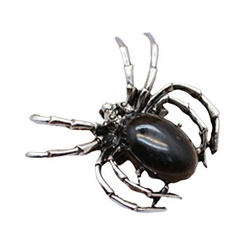 Ruby569y Broche en forme d'araignée de style vintage pour vestes, sacs à dos, vêtements, femmes et hommes - Cadeau idéal pour veste, col, jeans, chemise, badge, noir