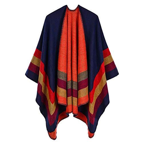 50% ACRYLIC And 50% POLYESTER Foulard Femme Autumn/Winter Warm Fashion Scarf Shawl Poncho 130 * 150CM Tippet Shawl yangain (Color : Navy Blue)