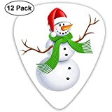 Merry Christmas Snowman Guitar Pick Set Guitarra Bajo Mandolin Ukulele 0.46mm 0.71mm 0.96mm 12 Pack Guitar Picks Plectrums Holder