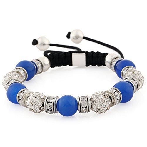 Morella® Damen Armband Schmucksteine und Zirkonia Strass verstellbar Silber - blau
