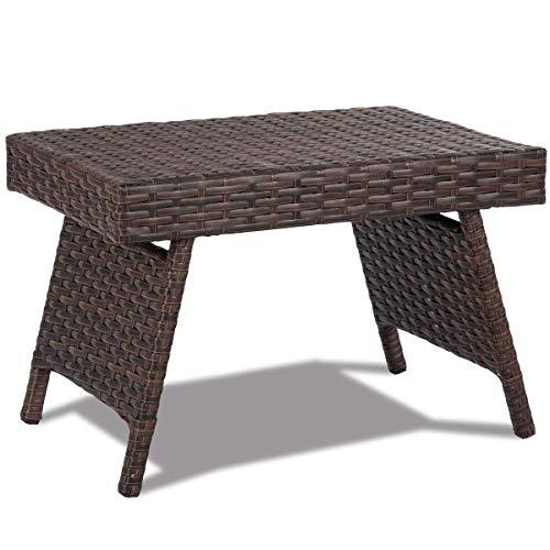 GIANTEX Kaffeetisch Rattan, Rattan Tisch klappbar, Gartentisch mit Eisengestell, Beistelltisch 60 x 40 x 39 cm, Ablagetisch für Terrasse, Garten, Balkon