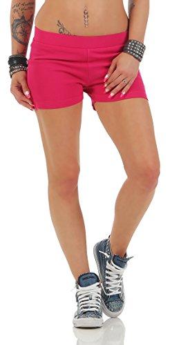 Gennadi Hoppe Damen Hotpants Kurze Fitness Hose Kurze Hose Laufshorts Sporthose Trainingshose Gym Strech Shorts (2XL, pink)