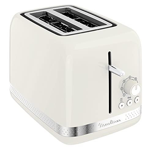 Moulinex LT300 Toaster Soleil, Tostapane, 7 livelli di doratura, Funzione arresto, scongelamento, riscaldamento, scomparti a larghezza variabile, accessorio pinze, Avorio