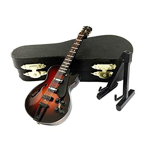 CANCYCC Holz Miniatur E-Gitarre mit Ständer und Aufbewahrungskoffer, Mini Musikinstrument, Miniatur-Puppenhaus Modell Home Office Dekoration