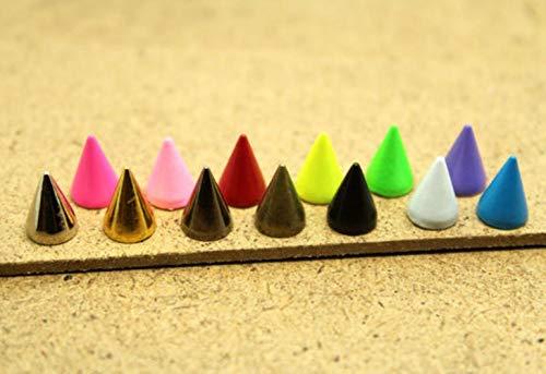 50 Stück 7 x 10 mm Kugelkegel farbige Nieten und Spikes für Kleidung DIY Handwerk Kleidung Nieten für Ledertasche Schuhe Tachuelas Ropa