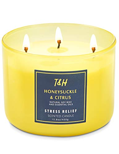 3 Wick Candle for Office | Honeysuckle and Citrus Essential Oils Stress Relief Scented Candle for Women | 16 Oz Long Lasting Aromatherapy Candle Large Natural Soy Candle with Gift Box