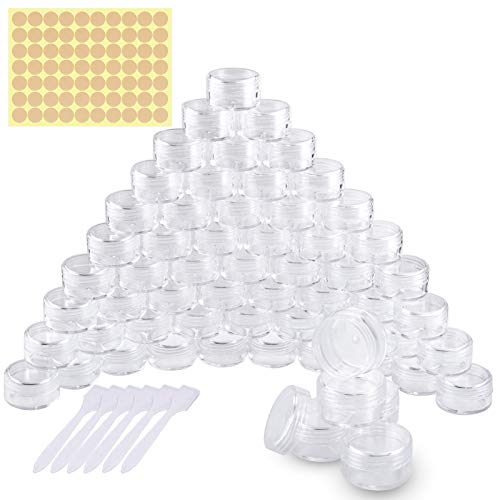 60 Pezzi Vasetti Plastica, Barattolo Cosmetici Vuoto Viaggio Contenitore Cosmetico per Crema Balsamo Labbra Campione - Con 6 Pezzi Mini Spatola (5g / 5ml)