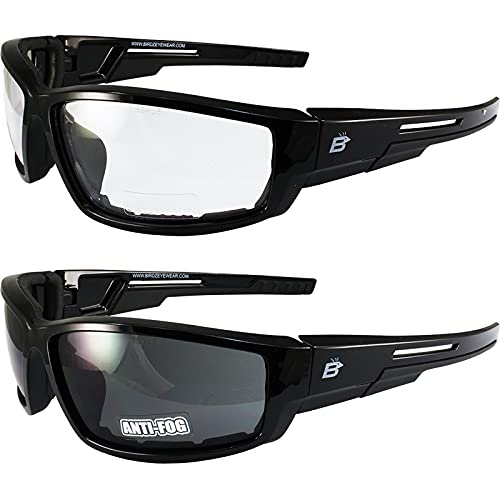2 Pairs of Birdz Eyewear Swoop Anti-Fog Padded Motorcycle Sunglasses Black Frame Clear + Smoke...