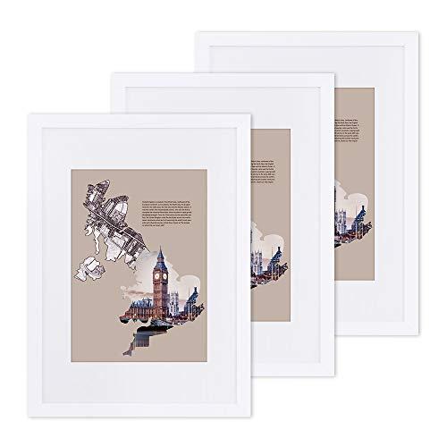 SONGMICS Bilderrahmen 3er-Set, für DIN A3 (29,7 x 42 cm) ohne Passepartout, für A4 (21 x 29,7 cm) mit Passepartout, Fotorahmen, Glasscheibe, Rahmenbreite 2 cm, MDF, weiß RPF03WT