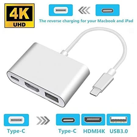 Type C Adapter Multiport AV Converter with 2 USB 3.0 Ports and Charging Port for MacBook Pro Chromebook Pixel Samsung Galaxy S8//S9 Plus Qicai H USB C to HDMI Adapter 4K