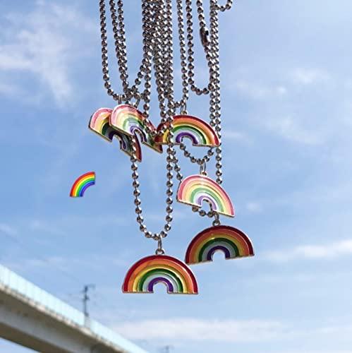 MIANBAO Joyería de Moda Arco Iris Colgante Collar Suéter Cadena Cuentas Collares Coloridos Joyería de Hip Hop