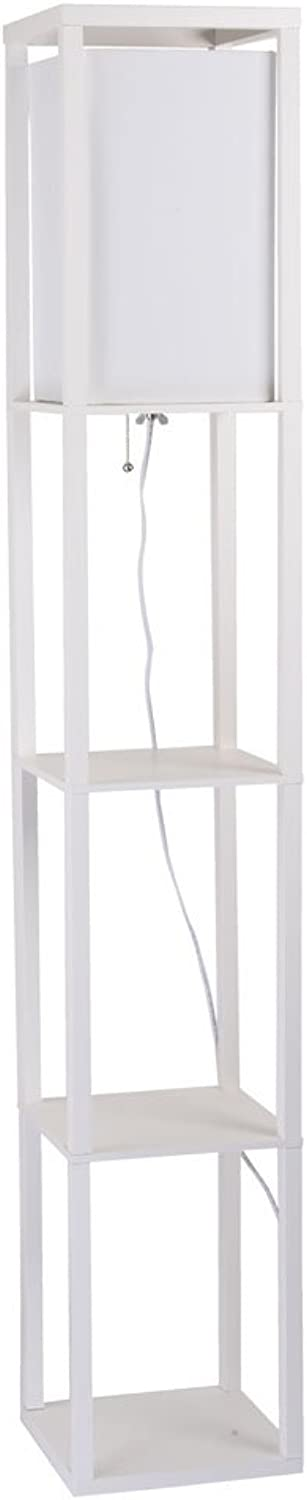 Catalina Lighting 17559-013 Modern Square Etagere Floor Lamp with Shelves and Linen Shade & Pull Chain 62.75  White Wood