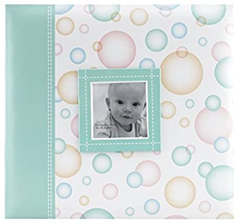 MCS MBI 12.5x13.5 Inch Baby Scrapbook Album with 12x12 Inch Pages with Photo Opening Green Circle Design  860073