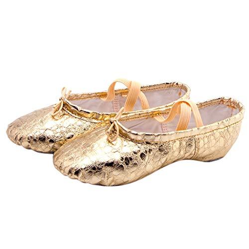 Ballettschuhe Damen Gymnastikschuhe Ballettschläppchen Ballerinas Tanzschuhe mit Geteilte Sohle für Mädchen Kinder Damen Gr 23-40 Celucke (Gold, 38 EU)