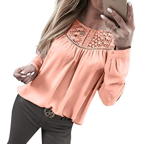 LoveLeiter Damen Langarmshirt Einfarbig T-Shirt Exquisite Nähen Bluse mit Spitze Top Bluse Shirt Tunika Hemd Oberteile Spitzenbluse Spitzenshirt Shirtbluse