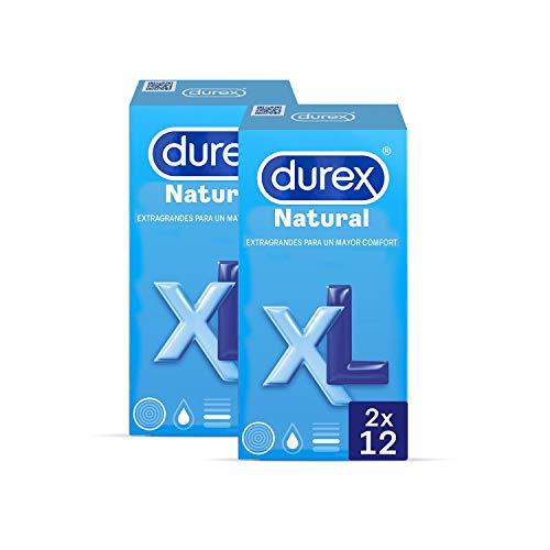 Durex Preservativos Originales Natural Plus Talla XL 12x2-24 condones Más Grandes