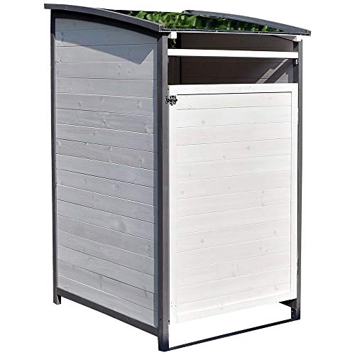 Melko Mülltonnenbox Einzelbox 120 Liter aus Holz Anthrazit/Weiß 73 x 85 x 127 cm, inkl. Rückwand
