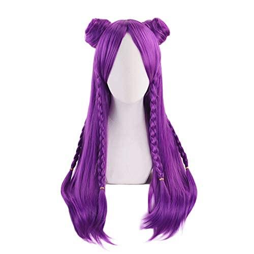Kaisa largo púrpura trenza con Bunplaytume Kai'Sa mujeres resistente al calor pelo sintético oween Party s WHYFDC