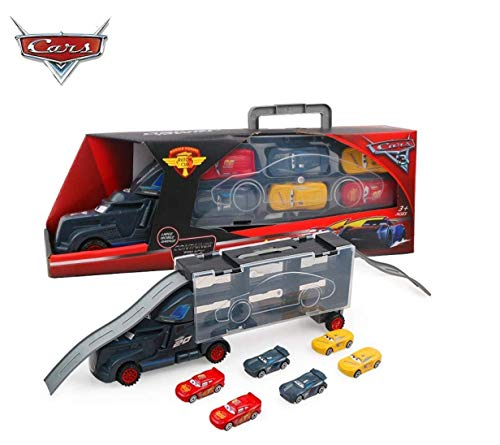 METRO TOY'S & GIFT 6 in 1 Vehicle Playsets McQueen Pixar Cars 3 Jackson Storm Daniel Swervez Mack Uncle Truck Hauler and 6PCS Mini Model Car Figure Toys for Kids