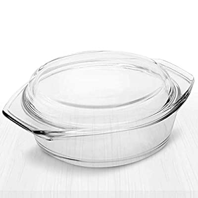 Simax Clear Glass Casserole | With Lid, Heat, Cold and Shock Proof, Made in Europe