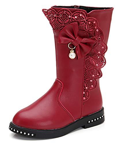 DADAWEN Girl's Waterproof Lace Bowknot Side Zipper Fur Lined Tall Winter Boots (Toddler/Little Kid/Big Kid) Dark Red US Size 13 M Little Kid