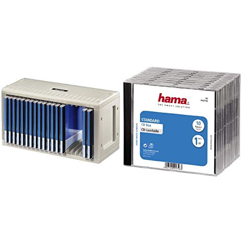 Hama CD-Rack 20, und CD-Leerhülle Schutzhülle (Standard) 10er-Pack, transparent-schwarz