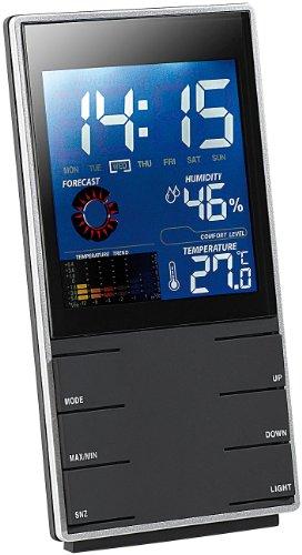 infactory Thermometer Hygrometer: Portable Design-Wetterstation mit Wettervorhersage & Wecker (Tischuhr mit Wetterstation)