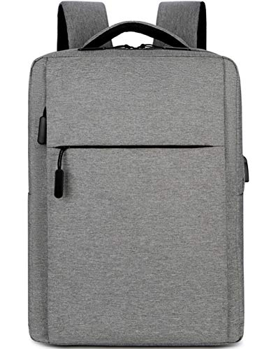 Travel Laptop Backpack, Business Slim Durable Laptops Backpack with USB Charging Port, Water Resistant College School Computer Bag Gifts for Men & Women Fits 15.6 Inch Notebook Grey