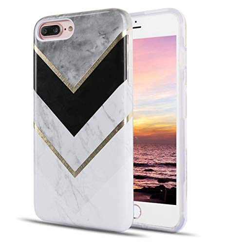TRENSOM Stripe Marble iPhone 8 Plus Grey Case iPhone 7 Plus White Black Case Dual Layer Soft TPU Hard PC Shockproof Phone Cases for Women Girls Men Boys[5.5