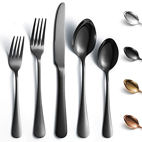 KCJOY 40-Piece Black Flatware Set, Premium Durable Stainless Steel Cutlery Set Service for 8, Including Knife Fork Spoon, Ergonomic Handle, Mirror Polished, Dishwasher Safe