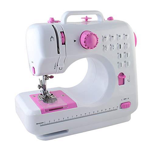 MFZJ Máquina de Coser portátil para Principiantes, máquina de Coser Tradicional con 12 Puntos incorporados, Herramienta de Costura para Uso doméstico overlock a Pedal, Rosa