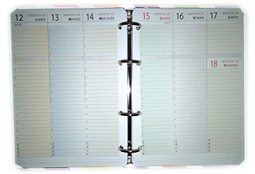 Ricambio formato A5 15x21cm per raccoglitore a 4 anelli (calendario settimanale con orari) CON 4 FORI