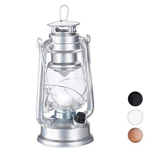 Relaxdays stormlantaarn, LED, retro stormlamp als raamdecoratie of elektrische tuinlantaarn, werkt op batterijen, zilver