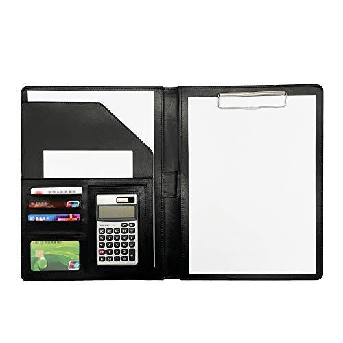 Clipboard cartella A4 con calcolatrice, cartella degli Appunti in pelle PU Cartella conferenza Portfolio Documento cartella con porta penna e calcolatrice a dodici cifre