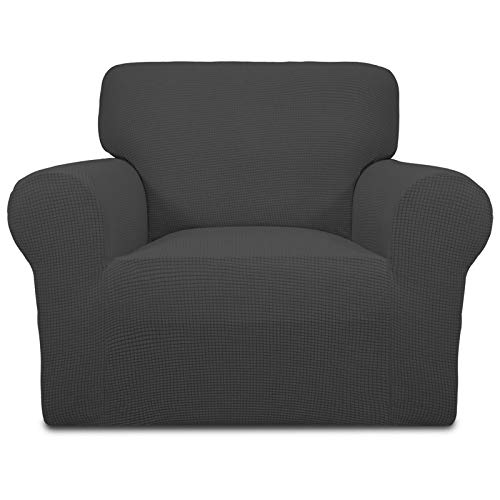 Greatime Stretch Sofabezug Sofaüberwurf Möbelschutz Sofaüberzug Couchbezug Couch Schild Sofahusse Weich mit Gummiband Schaumstreifen(Dunkelgrau,1-Sitzer)