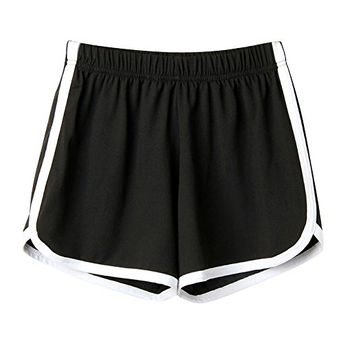 Fossen MuRope Pantalones Cortos Mujer Talla Grande con Bordes de Blanco Casual - Simple Moda Pantalone Corto de Color Sólido para Nina Baratos - Shorts para Yoga, Correr, Fitness